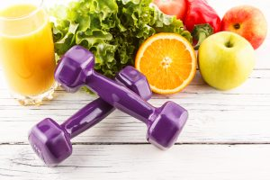 weights and fruit